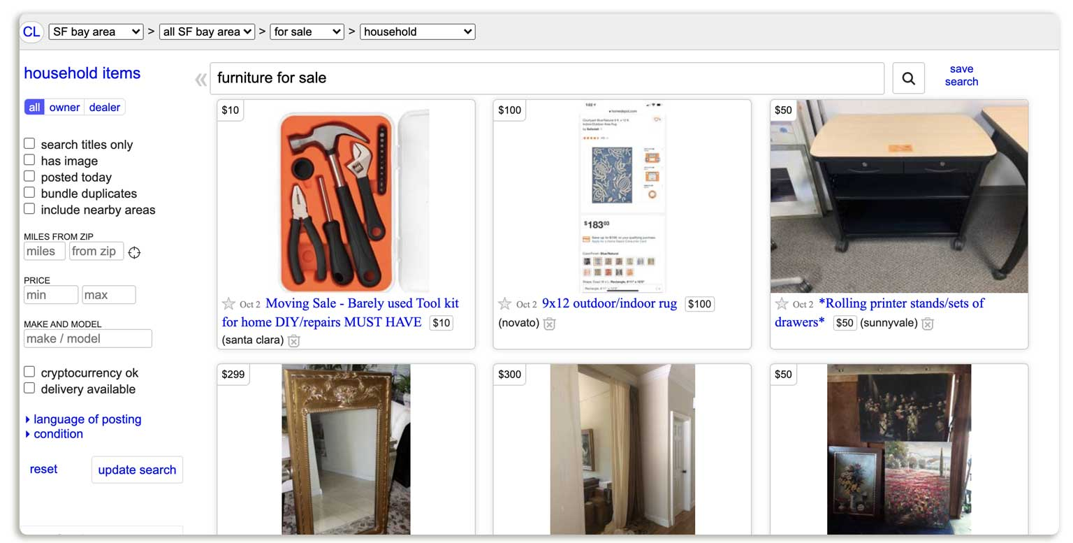 Example of Craigslist Store