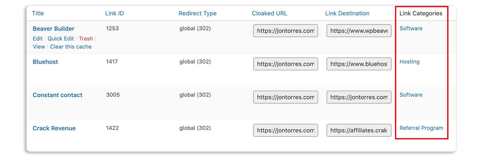 Cloaked Affiliate Links